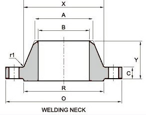 ASME B16.47 Ser. A Class 600 Weld Neck Flanges dimensions