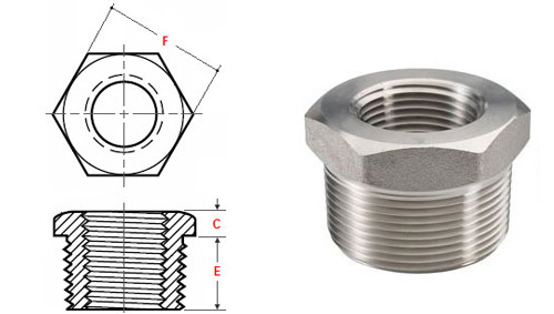 ASME B16.11 Threaded Hexa Head Bushing dimensions