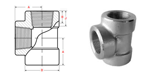ASME B16.11 Threaded Tee dimensions