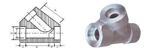 ASME B16.11 Socket Weld 45° Lateral Tee dimensions