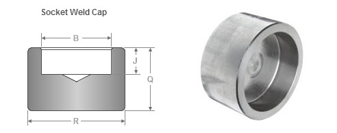 ASME B16.11 Socket Weld Pipe Cap dimensions