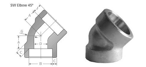 ASME B16.11 Socket Weld 45° Elbow dimensions