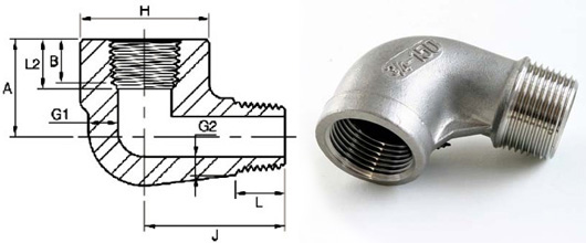 ASME B16.11 Threaded Street Elbow dimensions