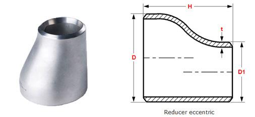 ASME B16.9 Buttweld Eccentric Reducers dimensions