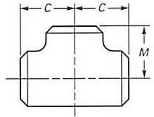 ASME B16.9 Buttweld Equal Tee dimensions
