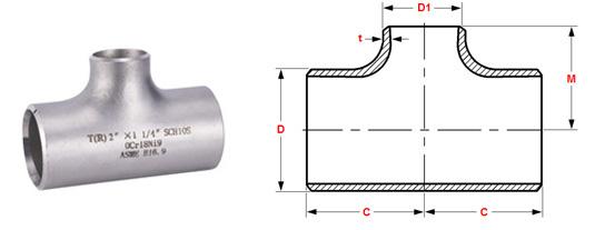 ASME B16.9 Buttweld Reducing Tee dimensions