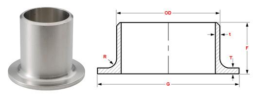 ASME B16.9 Buttweld Stub End dimensions